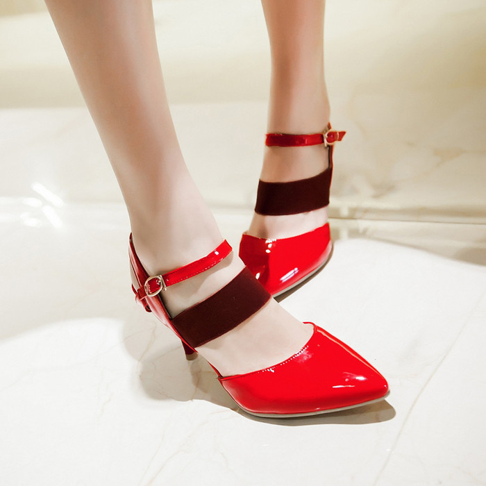2015 fashion Rome female sexy high heels sandals shoes front pointed toe black/white/red big size 33-47 women shoes summer