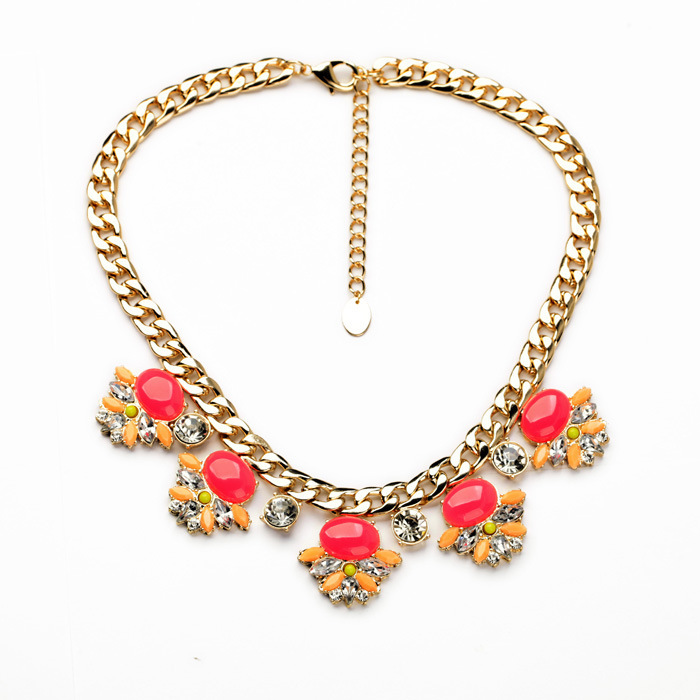Top Selling Gold Chain Chunky Necklaces Choker Jewelry Pink Stone and Crystal Statement Necklace Women Party Accessories(China (Mainland))