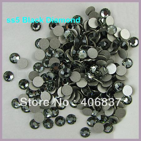 Free Shipping! 1440pcs/Lot, ss5 (1.7-1.9mm) Black Diamond Flat Back Nail Art Glue On Non Hotfix Rhinestones(China (Mainland))