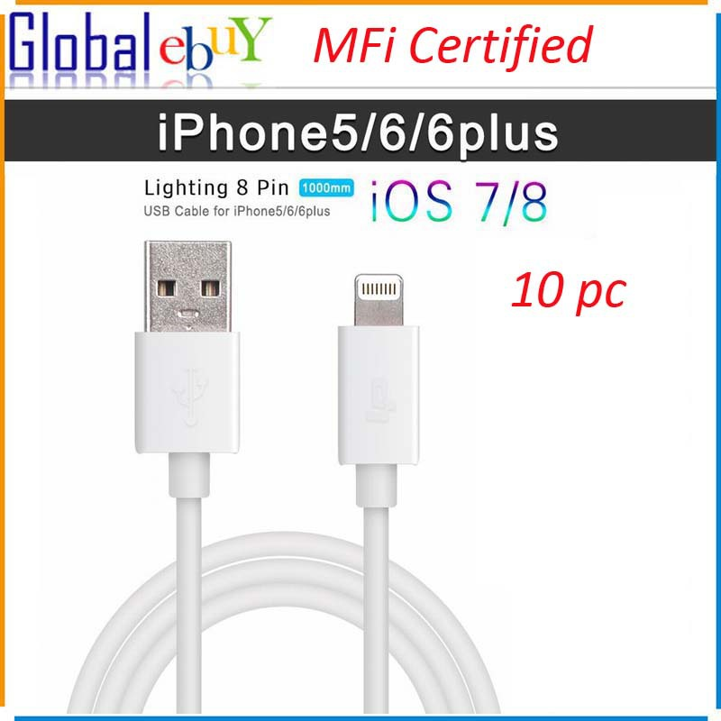 MFI Certificated 100% Genuine 8 Pin USB Data Sync Charger Cable Lead For Apple iPhone 6 plus 5 5C 5S iPad in White for 10pcs(China (Mainland))