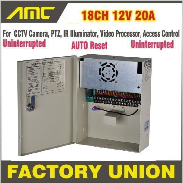 High Quality CE FCC RoHS Uninterrupted 18 Channel 12V 20A PTZ IR Illuminator AccessControl for 18CH DVR CCTV Camera Power Supply(China (Mainland))