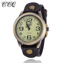 CCQ Brand Vintage Cow Leather Bracelet Watch Women WristWatch Casual Luxury Quartz Watch Relogio Feminino 1799