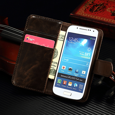 S4Mini Fashion Business Luxury Classic Flip Case for Samsung Galaxy S4 Mini I9190 with metal Cover Wallet Stand with Card Holder(China (Mainland))