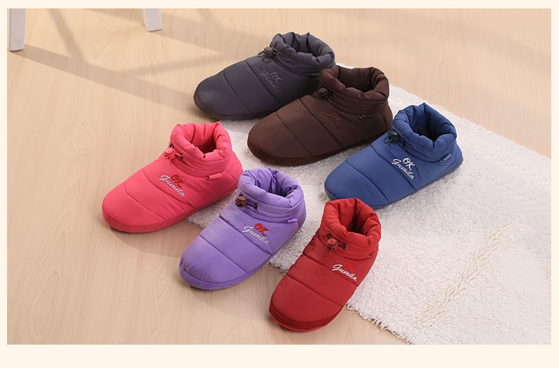 New Winter Men Women Wrapped heel Cotton Slippers Solid Color Warm Plush Indoor Shoes Non-slip Soft Bottom Home Floor Slippers