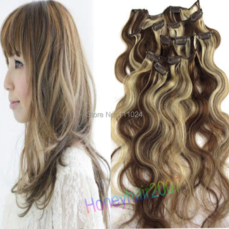 Body Wavy Hair Extensions Clip Natural Wave Peruvian #6/613 Mix Two Color - HairsBay store