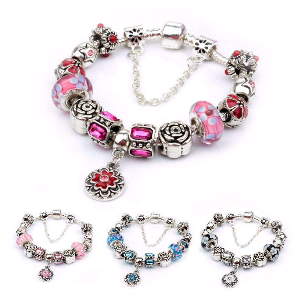 Fashion Silver plated Drop oil Sunflower Glass Big hole beads European Style Charm Bracelets for Women DIY bangles Jewelry Gift(China (Mainland))