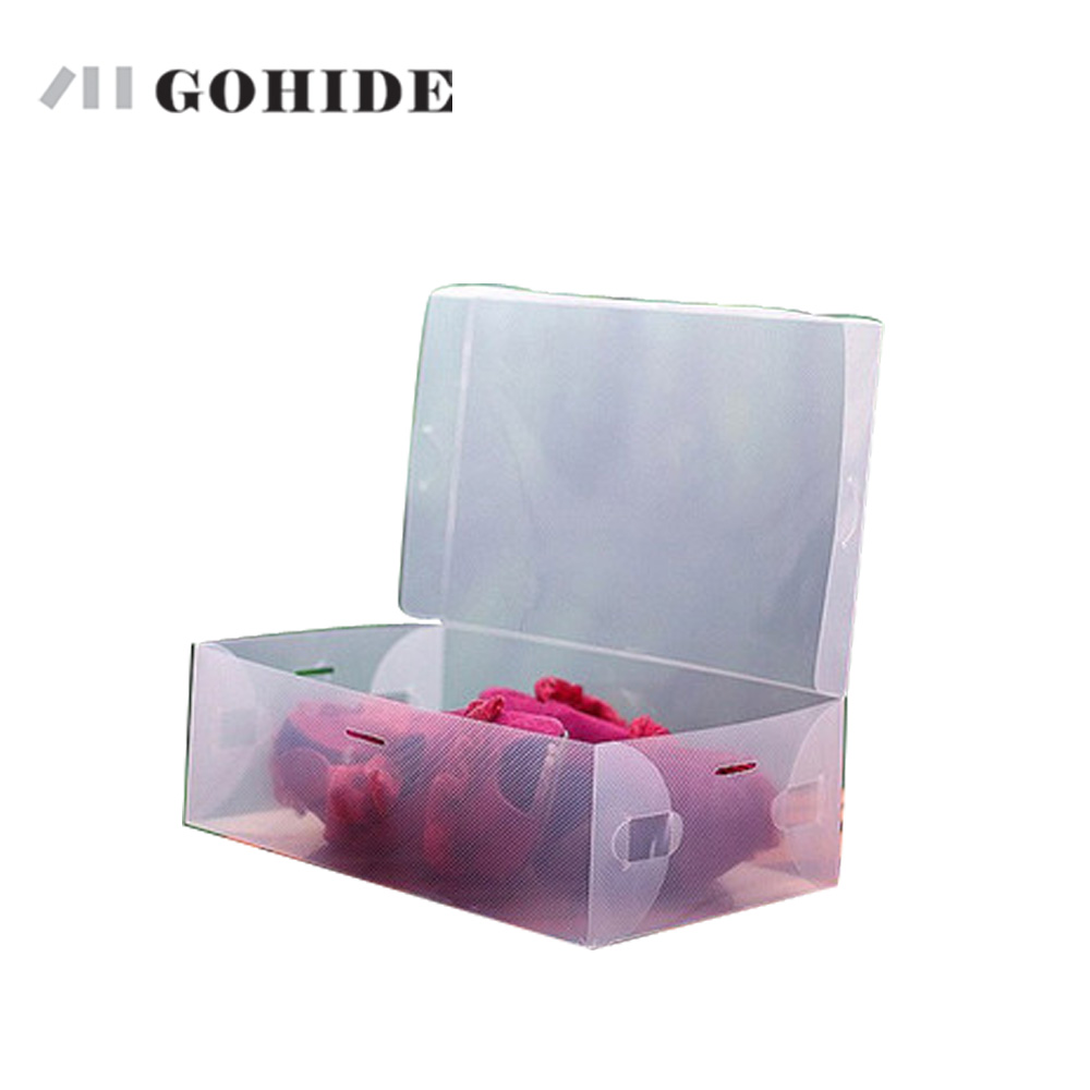 GOHIDE 1 pc of Flip women's foldable shoes box plastic shoe box women's shoes box thickening women's shoebox free shipping(China (Mainland))