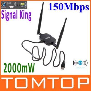 High Power Signal King W-ifi Wi fi Wifi Antenna USB Wireless Adaptor SignalKing 999WN 2000mW 48DBI 150Mbps Ralink 3070