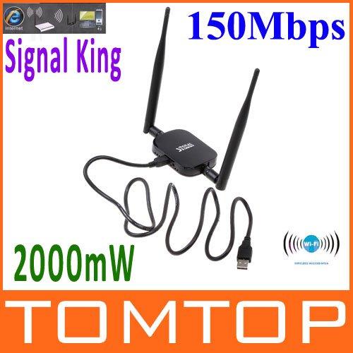 High Power Signal King W-ifi Wi fi Wifi Antenna USB Wireless Adaptor SignalKing 999WN 2000mW 48DBI 150Mbps Ralink 3070(China (Mainland))