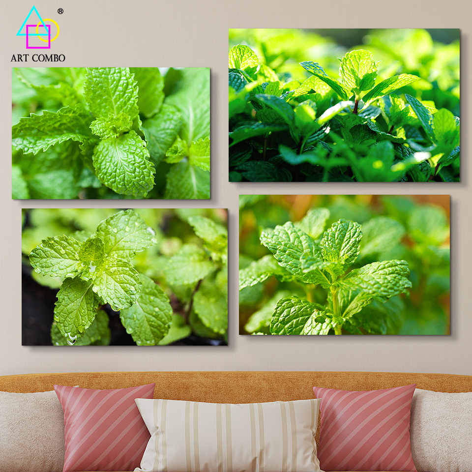 Modern Fresh Landscape Canvas Painting Green Leaves Wall Art Picture Home Decor ART COMBO One Piece High Quality BG026(China (Mainland))