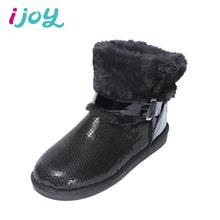 IJOY Paño De Lentejuelas Mujeres Botines Damas Felpa Botas de Nieve Caliente Invierno de Las Mujeres Planas de Los Talones Botas Engrosada Casual Zapatos(China (Mainland))