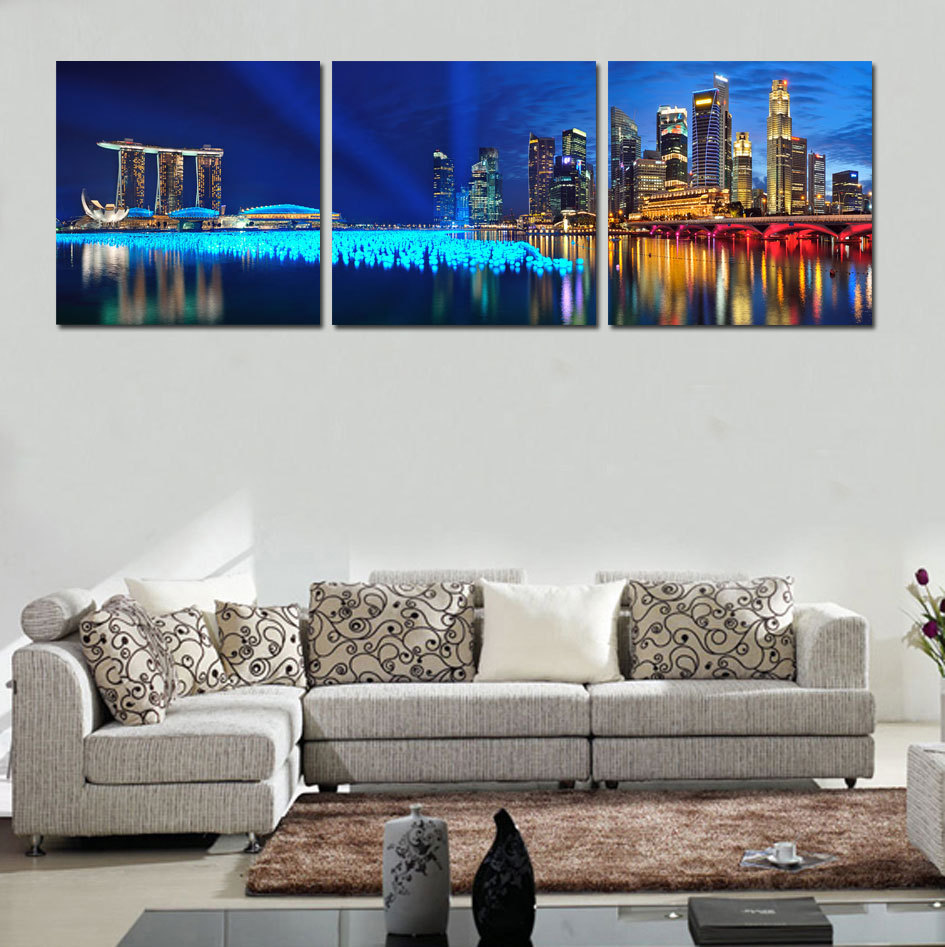 Home Decor Hd Print Landscape Art Painting On Canvas No Frame Beautiful City At Night 3pc In
