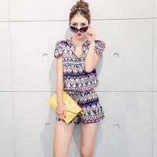 2015 Summer Style Women Jumpsuit Short Sleeve Button Tunic Chiffon Romper Short Vintage Playsuit Shorts Overalls