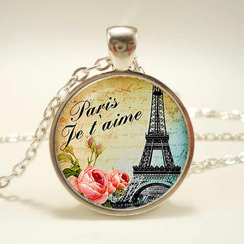 """Teal Paris Je t'aime Glass pendant. Vintage Eiffel Tower Necklace. Paris jewelry. Birthday gift glass cabochon pendant,handmake(China (Mainland))"