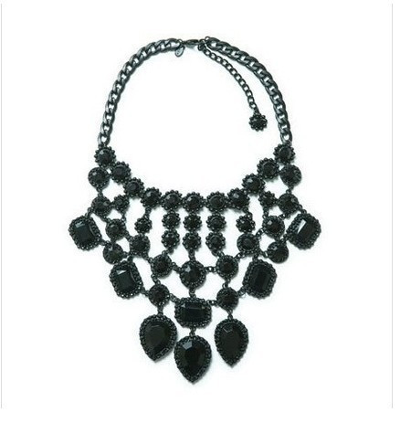 high quality 2014 new fashion jewelry Black Leaf Pendant Necklace resin stone drop choker statement necklace