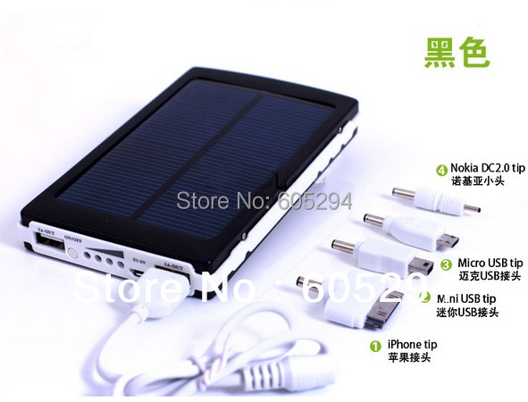 Free Shipping Black 30000mAh Solar Power Bank Backup Battery Solar Charger for Mobile Phone charger