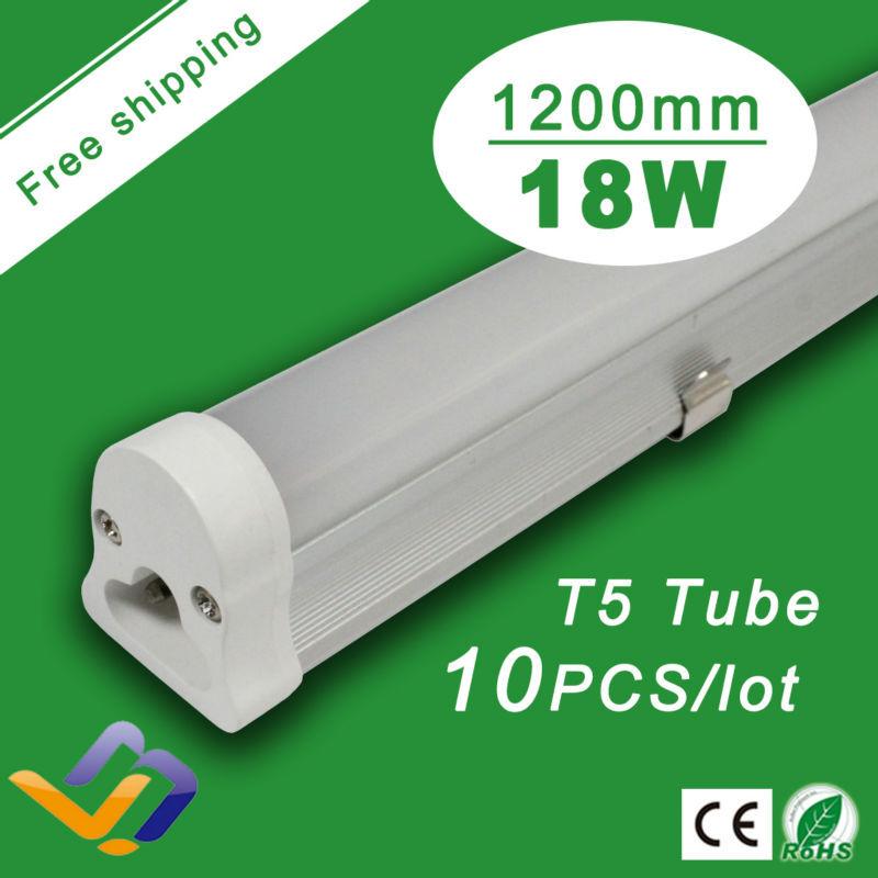 FreeShipping 10pcs/lot LED Tube T5 1.2m 18W AC85V-265V led fluorescent tube SMD 2835 LED Light lighting LED Lamps bulb T5 tube(China (Mainland))