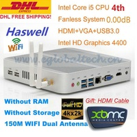 Fanless Mini PC Windows 3 Years Warranty Barebone i5 PC Micro Computer Intel Core i5 4200U 4K HD HTPC TV Box DHL Free Shipping