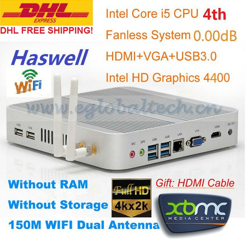 Fanless Mini PC Windows 3 Years Warranty Barebone i5 PC Micro Computer Intel Core i5 4200U 4K HD HTPC TV Box DHL Free Shipping(China (Mainland))