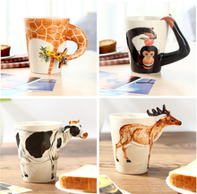 Creative gift Ceramic coffee milk tea mug 3D animal shape Hand painted animals Cow Monkey Dog Cat Camel Elephant cup