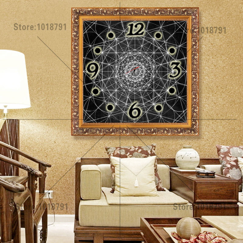 Time home decor Diamond Embroidery wall clock wall watches decoration Diamond Painting Cross Stitch painting calligraphy(China (Mainland))