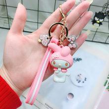 Japonês Clássico Animais Bonitos Dos Desenhos Animados Olá Kitty KT Gato Chaveiro Keychian Meninas Mulheres Charme Sacos Pingente de Chave Acessórios anel(China)