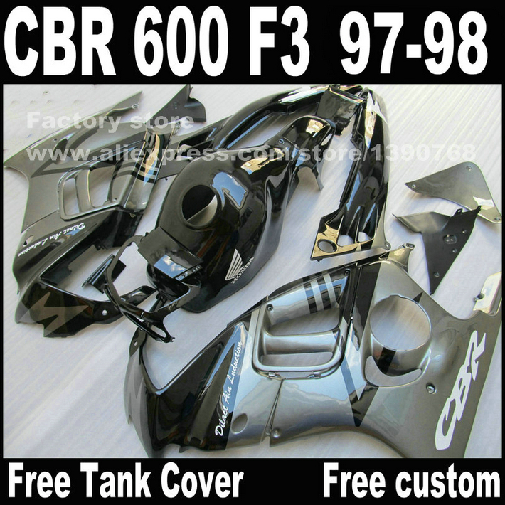 Lowest price Motorcycle parts for HONDA CBR 600 F3 fairings 1997 1998 CBR600 F3 97 98 silver black fairing kit O7(China (Mainland))
