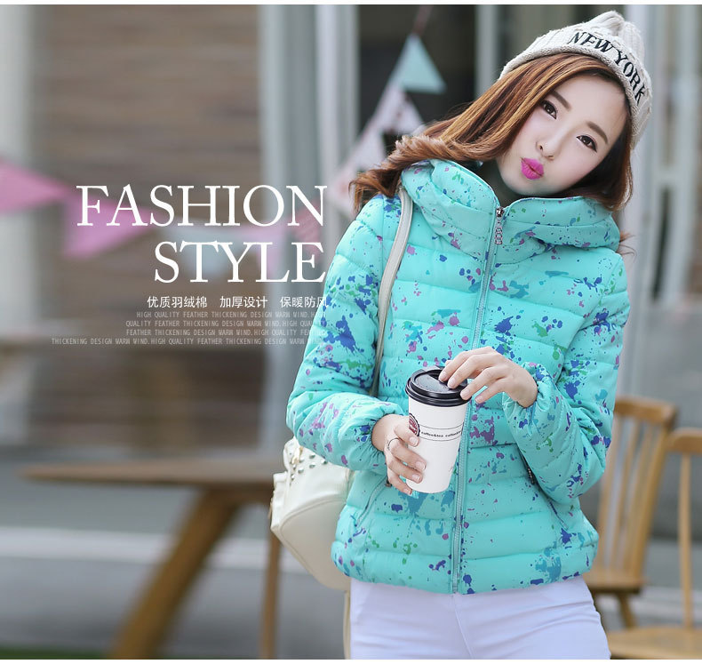 Cheap wholesale 2017 new Autumn Winter Hot sale women's fashion casual brief paragraph down cotton jacket hooded printing(China (Mainland))