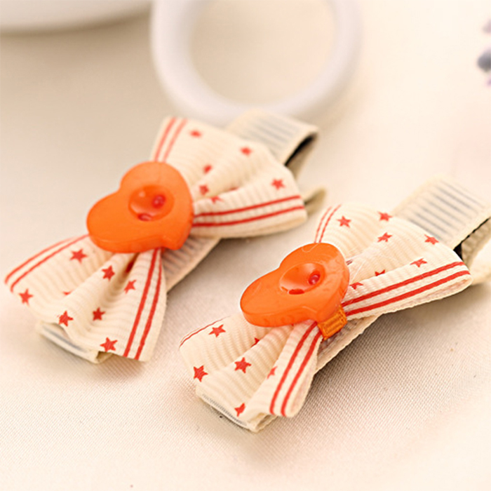 6Pcs/Lot Various Colors Bow Polka Dot Ribbon Heart Shaped Button Baby Girl Hair pin&Clip&Accessories(China (Mainland))
