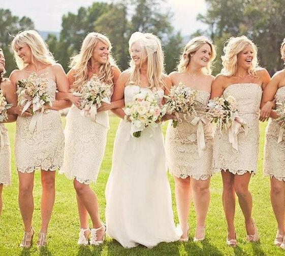 Strapless Short Briesmaid Dresses 2016 Champagne Wedding Party Gowns Sash Lace up Back Garden Cheap Custom