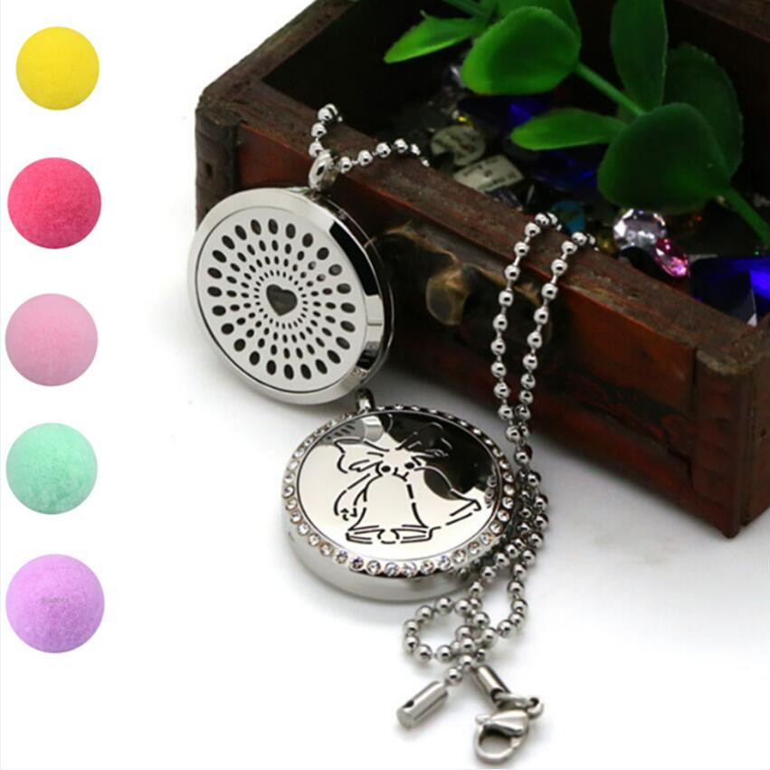Mixed 2Pcs Round Silver Aromatherapy/Essential Oils Stainless Steel Perfume Diffuser Locket Necklace With 75cm Chain<br><br>Aliexpress