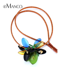 Women trendy plank statement pendant with Leather Strap eManco 2014 new promotions acrylic necklaces jewelry accessories NL0017