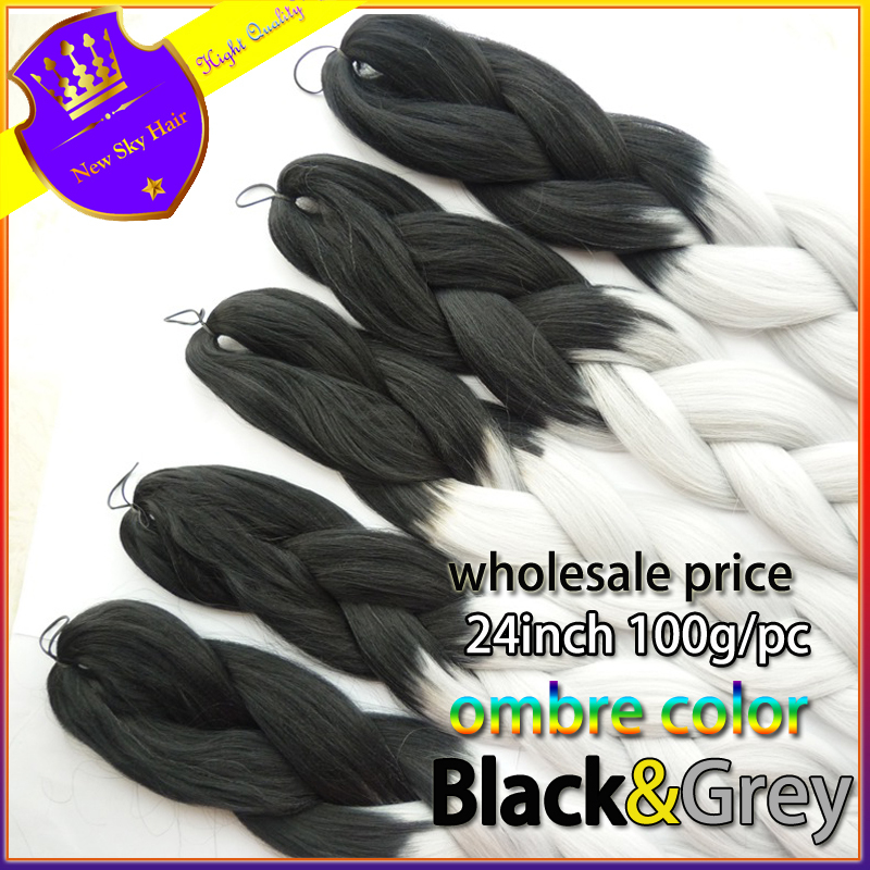 FREE Shipping folded 24inch100grams/pack Black&amp;Grey Ombre Two Tone Coloured 100% Kanekalon Jumbo Box Braiding Hair<br><br>Aliexpress