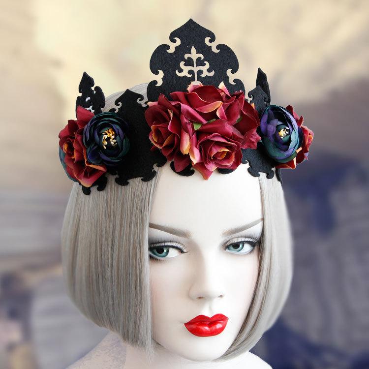 Headwear Fashion Red Rose Flower Girl Hairbands Gothic Punk Headbands Woman Party Hair Accessories headwear(China (Mainland))