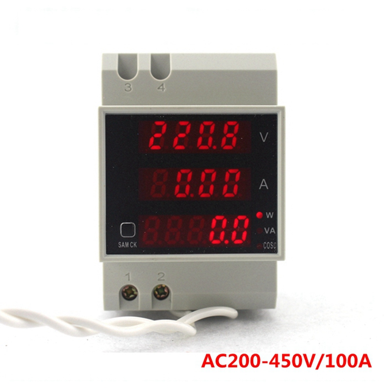 AC 200.0-450.0V 0-100.0A  Din rail LED display voltmeter ammeter with active and reactive power and power factor Din-rail<br><br>Aliexpress