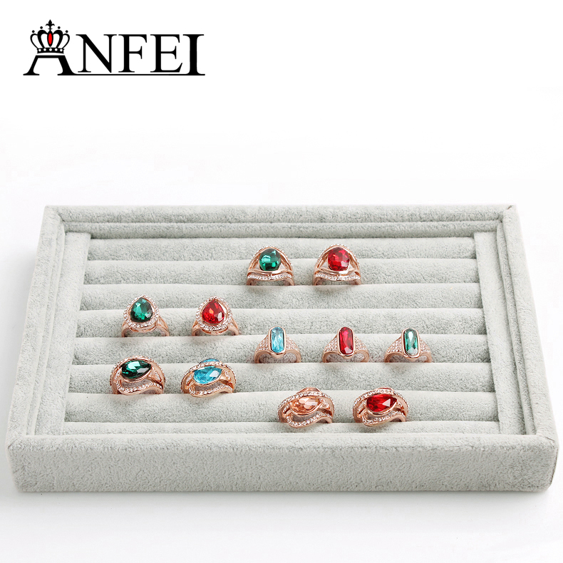 Free shipping jewelry display  ring display tray Jewelry display cases Storage box stand display rack organizer boxes gray <br><br>Aliexpress