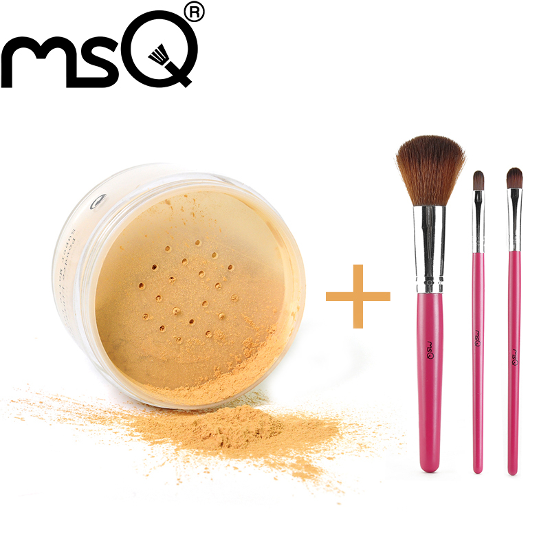 Hot ! MSQ Brand Cosmetic Loose Mineral Powder Palette With 3pcs Pro Make up Brush Set Soft Synthetic Hair Make Up Brushes For Be(China (Mainland))