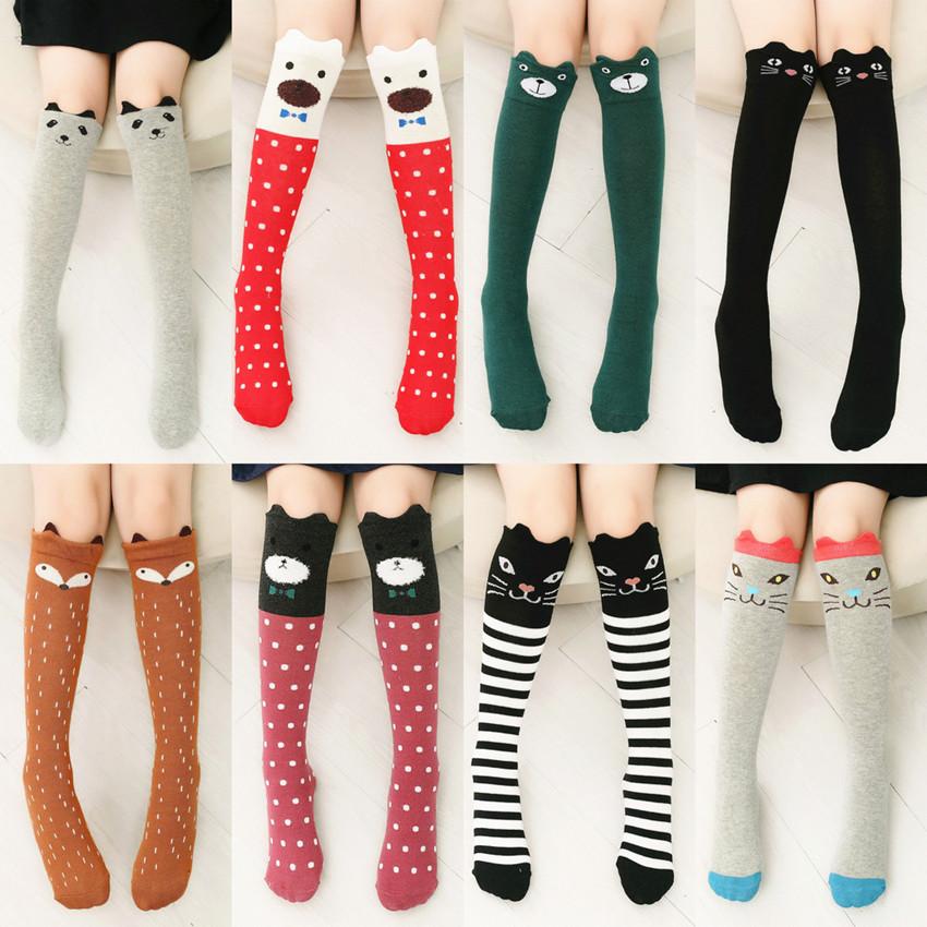 New Top Fashion 1 pair children Kids Girl Knee High fox Socks Cute cotton 3D Cartoon Animal Cat Bear Striped Over Knee Socks(China (Mainland))