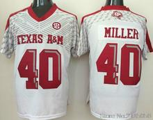 Texas A&M Aggies 40 Von Miller 9 Ricky Seals-Jones College Jersey Embroidery Red white Size M-XXXL(China (Mainland))