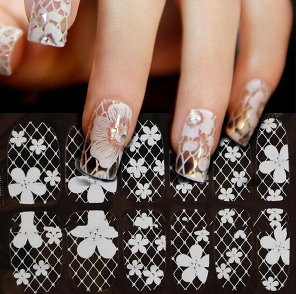 Гаджет  3D Nail Stickers Ultrathin Transparent White Lace Nail Tools Stickers Small Rhinestone Nails Stickers Hot None Красота и здоровье