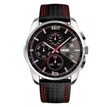 NEW SKMEI Brand 9106 Men Sports Watches Waterproof Chronograph Auto Date  Leather Band Wristwatch relogio masculino
