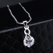 New Arrived Fashion Classic Brand Jewelry White Gold Platinum Infinite 8 with Cubic Zirconia Pendant Necklace For Women XLL216(China (Mainland))