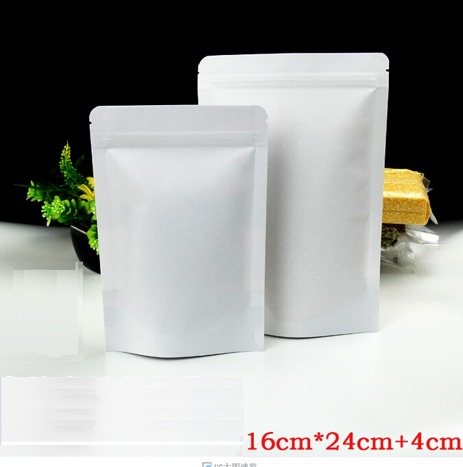 Size:16*24cm with 4cm, white brown paper bag , zip pouch packaging , zip lock stand up pouches(China (Mainland))