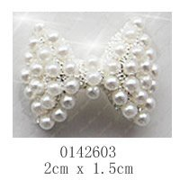 free shipping 10 pieces/pack) 3D big silver bow tie Alloy AB white pearl Nail Art iphone mobile Glitter Decoration