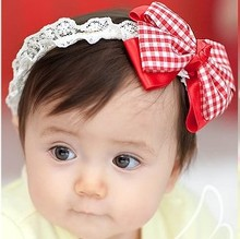 10pcs Free Shipping new Cute baby girl headband boutique accessories, Baby hair bands, baby chequer Kowknot headwear