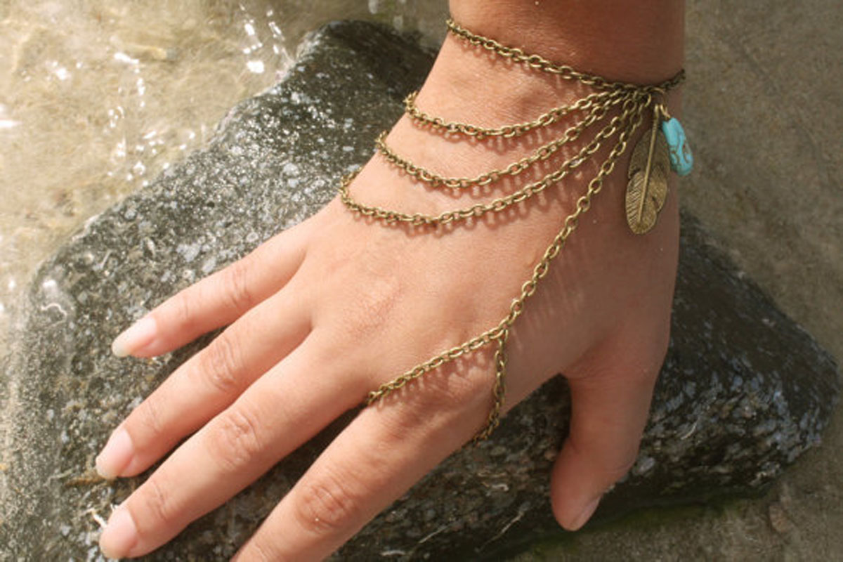 2015 Fashion Slave Bracelet Hand Bracelet Piece Hipster Bronze Chain Boho Bohemian(China (Mainland))