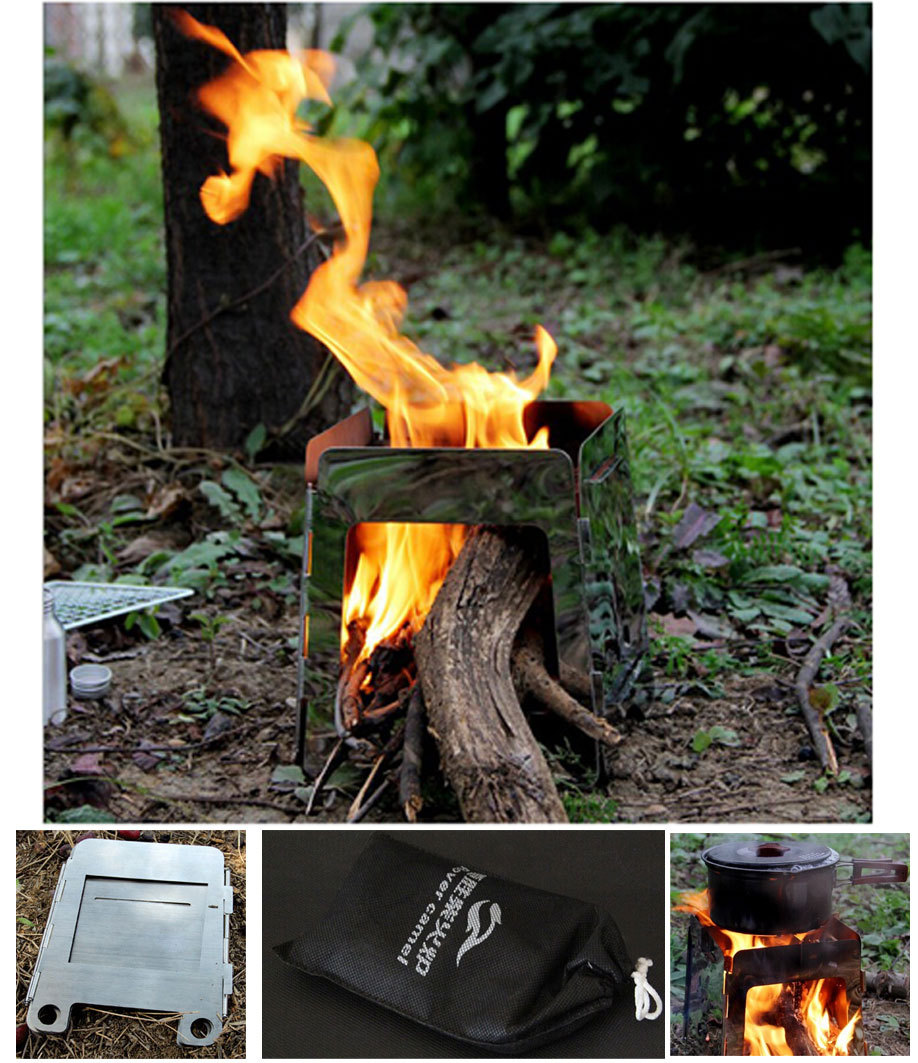 New foldable outdoor camping wood stove with carry case , alcohol stove ,cooking stove burner fuel camping cooking equipment<br><br>Aliexpress