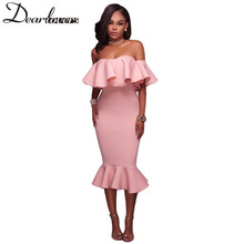Buy Dear lover Shoulder Ruffle Midi Dress 2017 New Sexy Bodycon Mermaid Midi Party Dress LC61486 White Black Pink Blue Red for $18.33 in AliExpress store