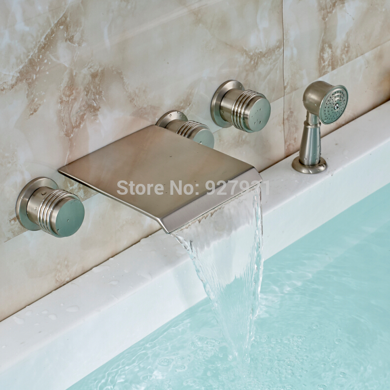 waterfall bathroom bath tub faucet with handheld shower wall mounted