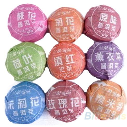 9pcs Different puerh tea Pu er Slimming Puer Ripe Raw 1MZF